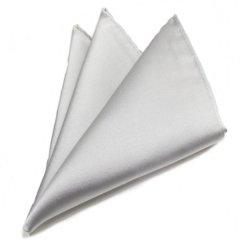 日本製シルク100%・光沢感の美しいポケットチーフ・サテン・シルバー・ポケットスクウェア