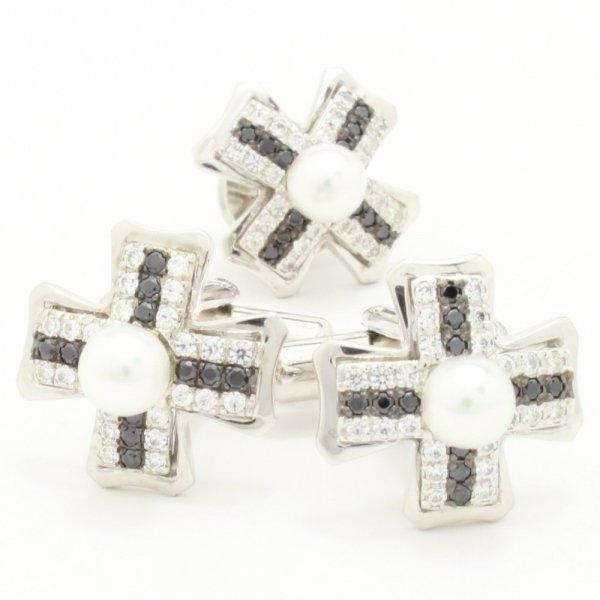 アコヤ真珠5㎜クロス・デザインのカフス&タイタックのセット