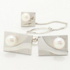アコヤ真珠6.5�レクタングル・シャインライン・デザインのカフス&タイタックのセット