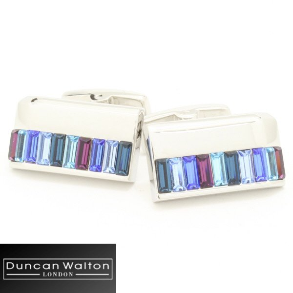 【DuncanWalton】Holdenスワロフスキー・ブルーのカフス(カフリンクス/カフスボタン)