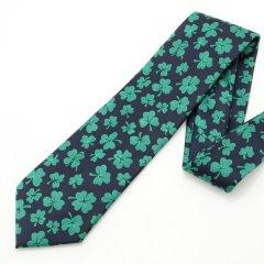 面白ネクタイ・シャムロック・クローバー柄ブラックのユニークネクタイ