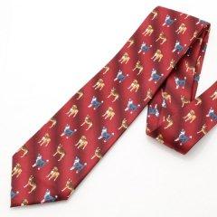 面白ネクタイ・愛犬家さんにドックなドット柄・レッドのユニークネクタイ