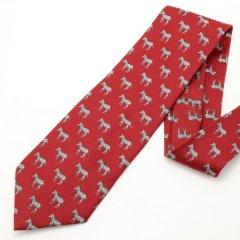 面白ネクタイ・しまうまいっぱいゼブラ柄・レッドのユニークネクタイ