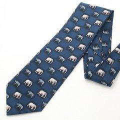 面白ネクタイ・Bigな方にゾウとサイの小紋柄ユニークネクタイ