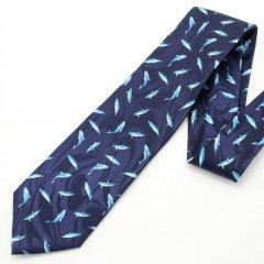 面白ネクタイ・キュートで爽やかなイルカの小紋柄ユニークネクタイ