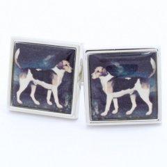 【SoniaSpencer】たたずむ犬の絵画のカフス(カフリンクス/カフスボタン)