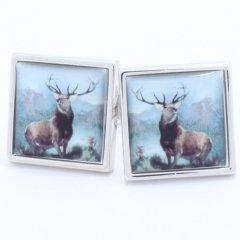 【SoniaSpencer】トナカイ・鹿の絵画のカフス(カフリンクス/カフスボタン)