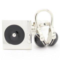 DJさんにおススメなレコード×ヘッドホンのカフス(カフリンクス/カフスボタン)
