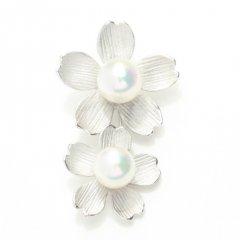 ラペルピン・揺れる二連桜・アコヤ真珠パール5.5�のブローチ(タイタック)