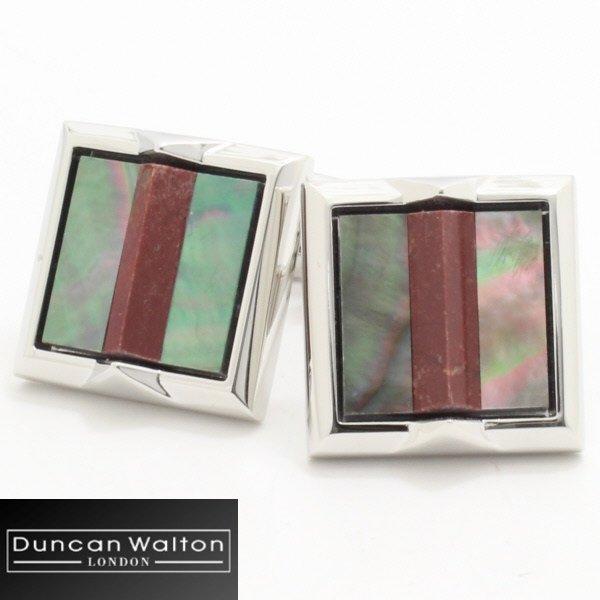 【DuncanWalton】Lupeレッドジャスバーと黒蝶貝のカフス(カフリンクス/カフスボタン)
