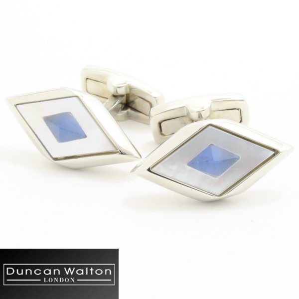 【DuncanWalton】AgdenブルーアゲートとMOPパールのカフス(カフリンクス/カフスボタン)