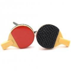 シェークハンド用赤と黒卓球ラケットのカフス(カフリンクス/カフスボタン)