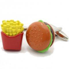 食べ過ぎ注意フライドポテトとハンバーガーのカフス(カフリンクス/カフスボタン)