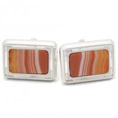 オレンジ・縞めのうスクウェアのカフス(カフリンクス/カフスボタン)
