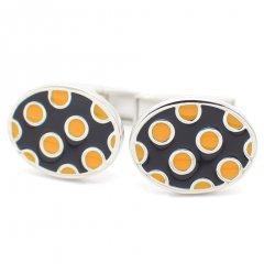 ブラック×オレンジの水玉ビビットカラーカフス(カフリンクス/カフスボタン)