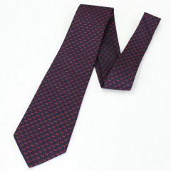 [半額SALE・7/26迄現品限り]全3色・スコッチテリア犬の小紋柄・ネイビー×レッドの西陣織ネクタイ