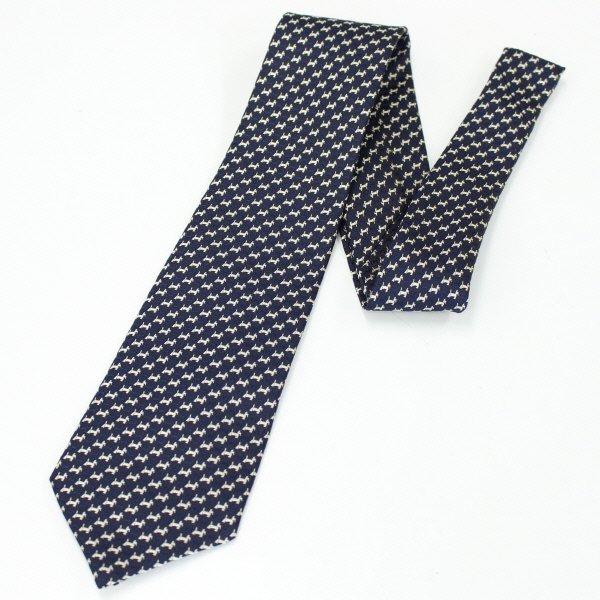 全3色・スコッチテリア犬の小紋柄・ネイビー×ベージュの西陣織ネクタイ
