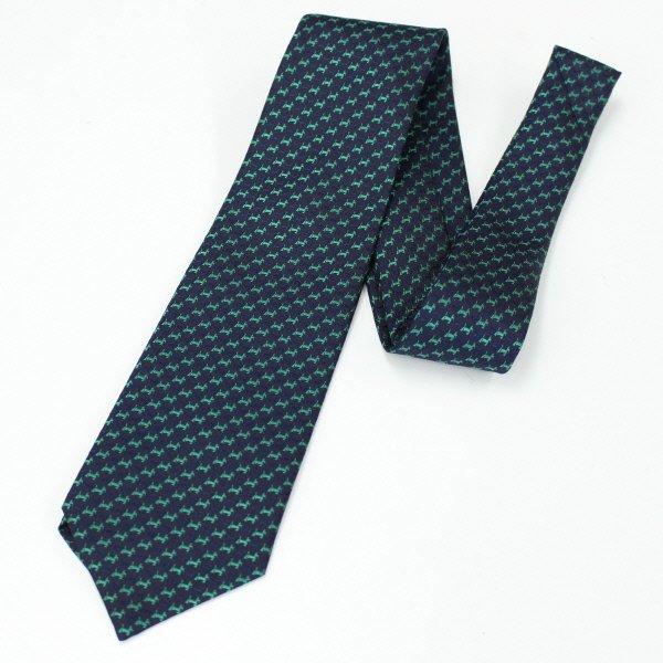 全3色・スコッチテリア犬の小紋柄・ネイビー×グリーンの西陣織ネクタイ