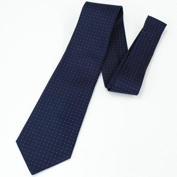 全4色・Small水玉模様の小紋柄・ネイビー×グリーンの西陣織ネクタイ