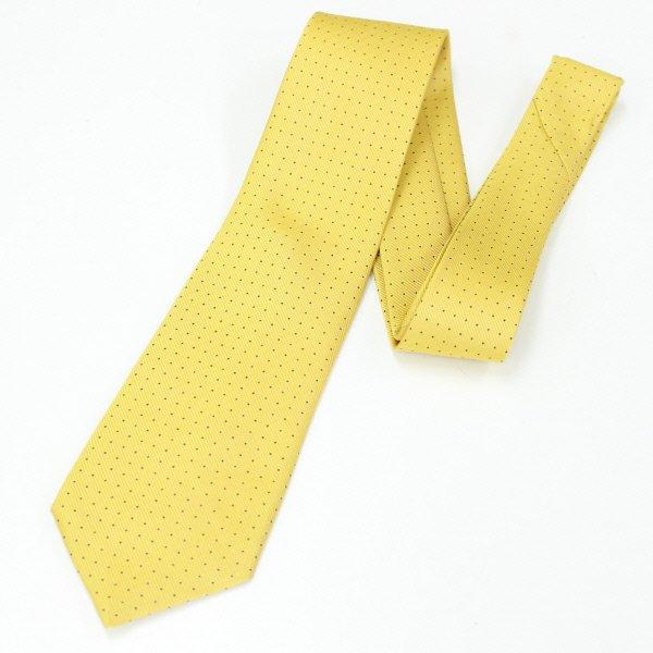 全4色・Small水玉模様の小紋柄・イエロー×ブラウンの西陣織ネクタイ