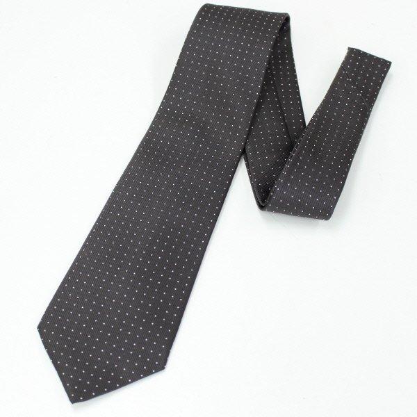 全4色・Small水玉模様の小紋柄・グレー×ホワイトの西陣織ネクタイ