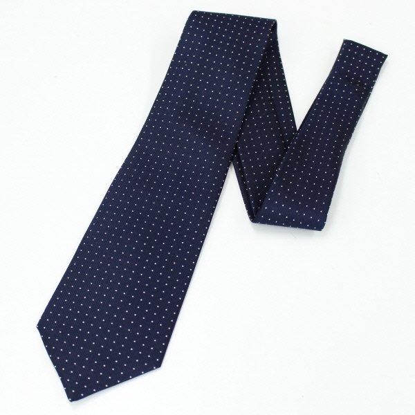 全4色・Small水玉模様の小紋柄・ネイビー×ホワイトの西陣織ネクタイ