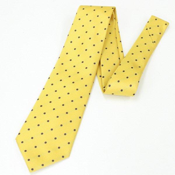 全5色・Medium水玉模様の小紋柄・イエロー×ブラウンの西陣織ネクタイ