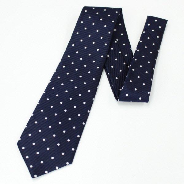 全5色・Medium水玉模様の小紋柄・ネイビー×ホワイトの西陣織ネクタイ