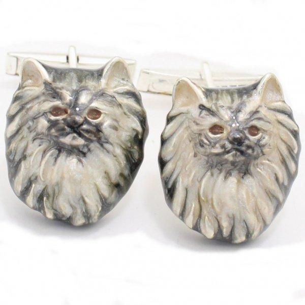 【SATURNO・サツルノ】ロングヘアが優雅なペルシャ猫のカフス(カフリンクス/カフスボタン)