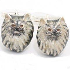 【取寄品】【SATURNO・サツルノ】ロングヘアが優雅なペルシャ猫のカフス(カフリンクス/カフスボタン)