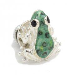 【SATURNO・サツルノ】ラペルピン・緑の蛙・カエルのタイタック(ピンブローチ)