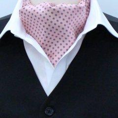 日本製アスコットタイ・フラワー小紋柄ピンク