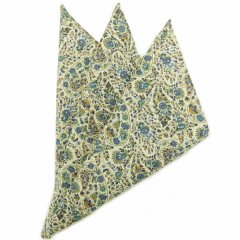 日本製・汗も拭けちゃう綿100%・お花ペーズリー・ブルー・ポケットチーフ・ポケットスクウェア