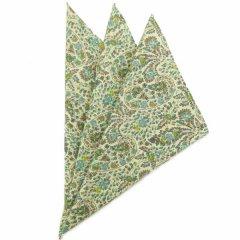 日本製・汗も拭けちゃう綿100%・お花ペーズリー・グリーン・ポケットチーフ・ポケットスクウェア