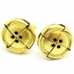 レザー皮革×金箔のステッチボタンのカフス(カフリンクス/カフスボタン)
