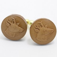 Coinderoux牡鹿の横顔・レザー皮革ボタンのカフス(カフリンクス/カフスボタン)
