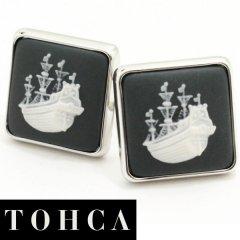 【陶華・TOHCA】シルバー・スクウェア帆船カメオ・グレーのカフス(カフリンクス/カフスボタン)
