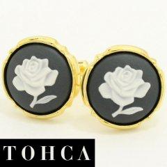 【陶華・TOHCA】ゴールド・ラウンド薔薇ローズカメオ・グレーのカフス(カフリンクス/カフスボタン)