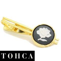 【陶華・TOHCA】ゴールド・ラウンド薔薇ローズカメオ・グレーのタイピン(ネクタイピン)