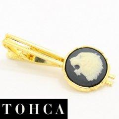 【陶華・TOHCA】ゴールド・ラウンド吠える虎カメオ・グレーのタイピン(ネクタイピン)