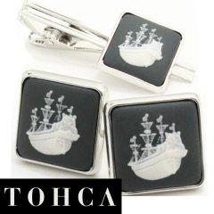 【陶華・TOHCA】シルバー・スクウェア帆船カメオ・グレーのカフスセット(タイピンセット)
