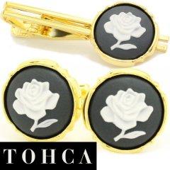 【陶華・TOHCA】ゴールド・ラウンド薔薇ローズカメオ・グレーのカフスセット(タイピンセット)
