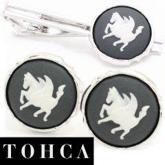 【陶華・TOHCA】シルバー・ラウンド・ペガサスカメオ・グレーのカフスセット(タイピンセット)