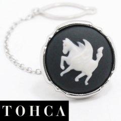 【陶華・TOHCA】シルバー・ラウンド・ペガサスカメオのタイタック(ピンブローチ)
