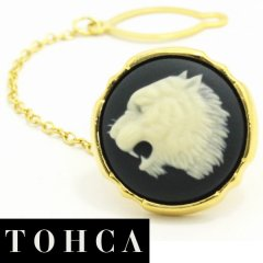 【陶華・TOHCA】ゴールド・ラウンド吠える虎カメオ・グレーのタイタック(ピンブローチ)