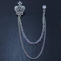 シルバー王冠クラウン×二連チェーンのラペルピン・チェーンブローチ