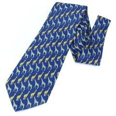 面白ネクタイ・貴方を首を長くして待ってるわキリン・ネイビーブルーのユニークネクタイ