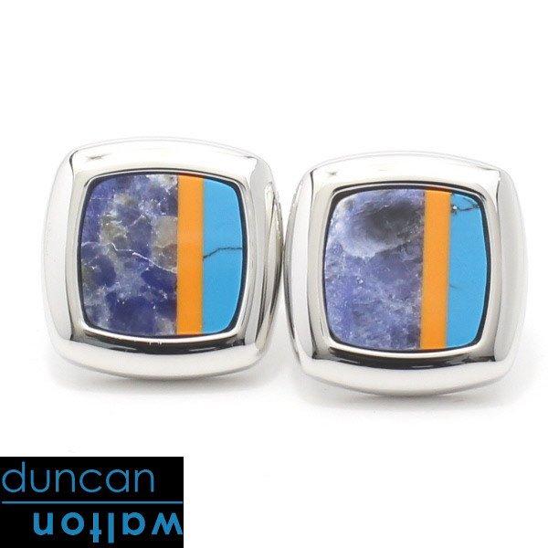 【Duncan Walton Luxury】Sculptor・ソーダライト×ターコイズのカフス(カフリンクス/カフスボタン)