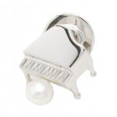 ラペルピン・音楽好きさんにグランドピアノ・アコヤ真珠パール5.0mmブローチ(タイタック)