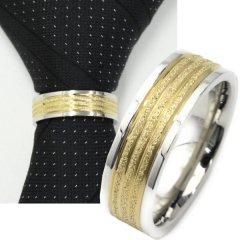 ネクタイリング・シルバーエッジ×ゴールデン・ラメラインのタイリング(スカーフ留)